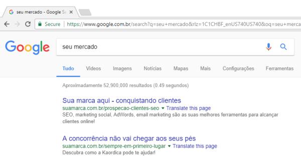 Imagem do Google com a sua marca em primeiro lugar