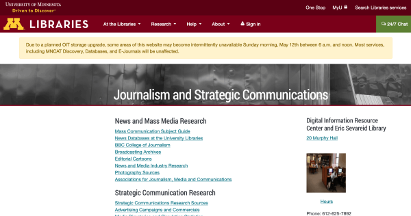 Screenshot of Journalism and Strategic Communication page