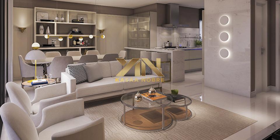 Elegante sala integra à cozinha