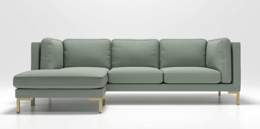 modern 1 furniture. Malmo Sectional In Fabric Light Jade W/ Brass Squared Leg Modern 1 Furniture R