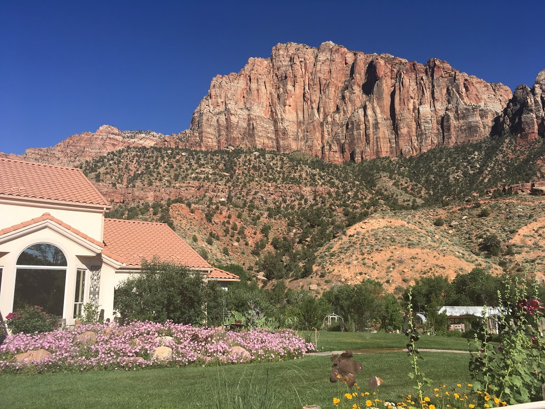 The bed and breakfast I stayed at, with the Watchman in the background.