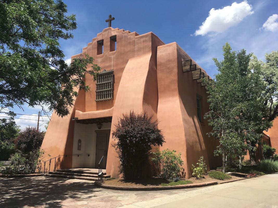 An adobe church.