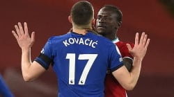 Kovacic is confronted by Mane after booting ball at Liverpool star's HEAD
