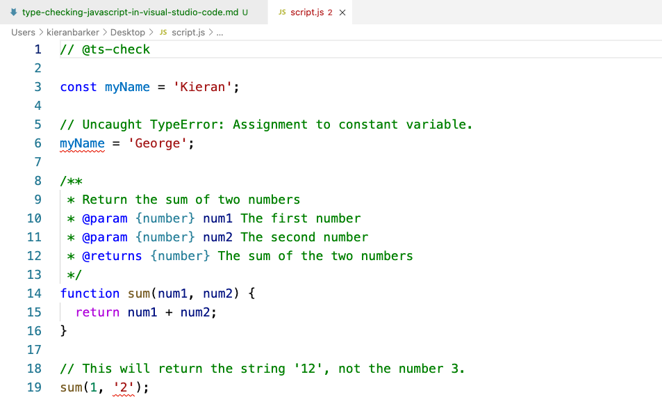 A screenshot showing that the problems are underlined with squiggly red lines in VS Code.