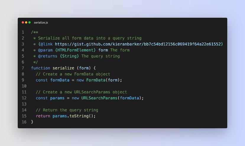 A screenshot showing my serialize.js helper function in a code editing window.