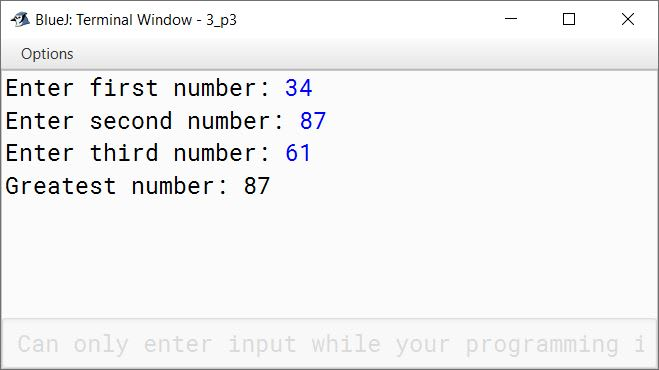BlueJ output of Kboat3Numbers.java