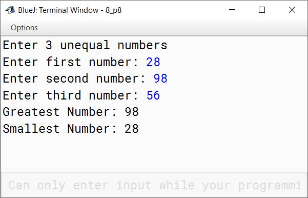 BlueJ output of KboatMinMaxNumbers.java