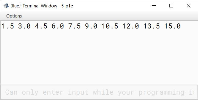 BlueJ output of Write the program in Java to display the first ten terms of the following series: 1.5, 3.0, 4.5, 6.0,