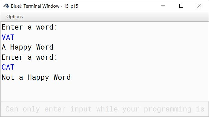BlueJ output of KboatHappyWord.java