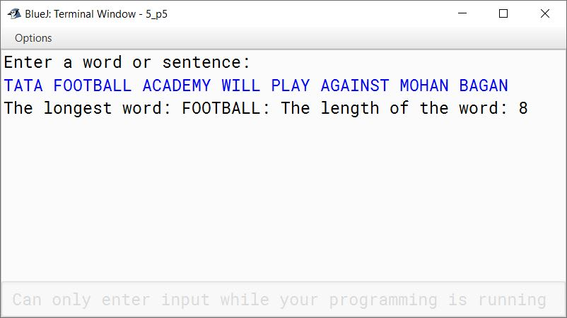 BlueJ output of KboatLongestWord.java