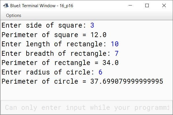 BlueJ output of Perimeter.java