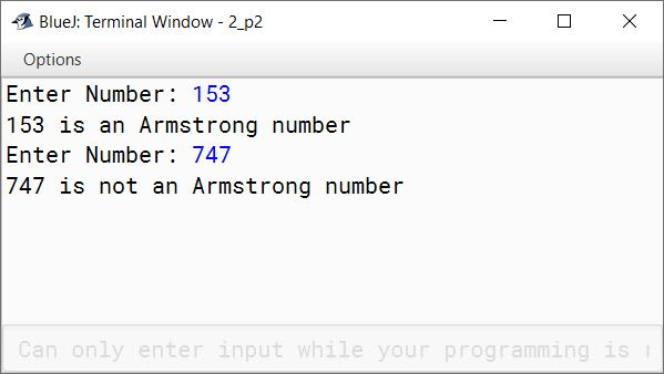 BlueJ output of KboatArmstrongNumber.java