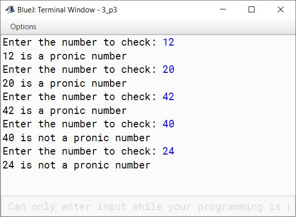BlueJ output of KboatPronicNumber.java