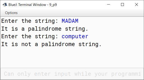 BlueJ output of KboatStringPalindrome.java