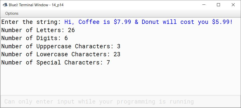 BlueJ output of Characters.java