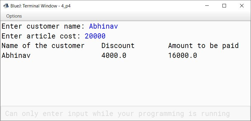 BlueJ output of Discount.java