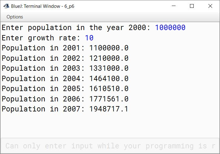 BlueJ output of Population.java