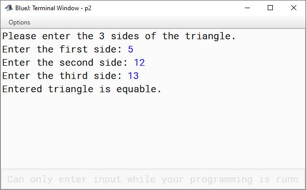 BlueJ output of KboatEquableTriangle.java