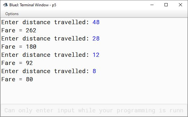 BlueJ output of KboatBusFare.java