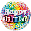 Happy Birthday Rainbow Confetti Balloon - 18inch Foil