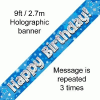 Blue Happy Birthday 9ft/2.7m Holographic Banner