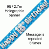 Blue Numbered Birthday 9ft/2.7m Holographic Banner