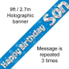 Blue Happy Birthday Son 9ft/2.7m Holographic Banner