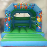 Green Party Time Bouncy Castle