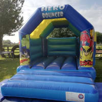 Blue Super Hero Bouncy Castle Hire