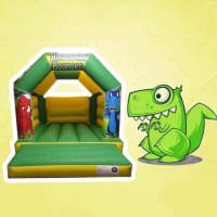11ft X 15ft Dinosaur Themed Bouncy Castle - Green