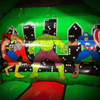 Superhero Disco Dome With Slide Bouncy Castle
