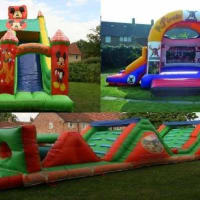 24ft X 15ft X 28ft Disney Megga Slide & 50ft Jungle Book Assault Course & 15ft X 21ft Slide Clown Castle