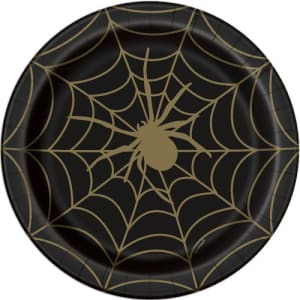 Black And Gold Spider Web Plates Pk8