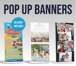 3 X Pop Up Banners - £85+vat And £10+vat Artwork / Design