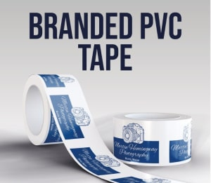 White Branded Pvc Tape - 3 Colour Logo Or Wording