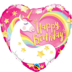 Happy Birthday Unicorn Heart Foil Balloon - 18inch