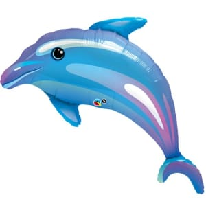 Blue Dolphin Iridescent Supershape Balloon - 29inch Foil