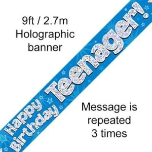 Blue Happy Birthday Teenager 9ft/2.7m Holographic Banner