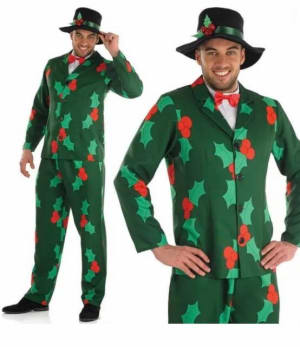 Christmas Suit - Pants Jacket, Hat And Bow Tie - Medium/large