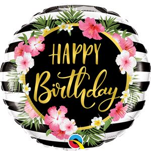 Birthday Hibiscus Flower & Stripes Foil Balloon - 18inch Balloon