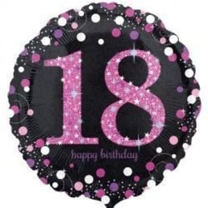 18 Inch Black And Pink Sparkling Celebration Balloons