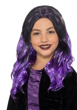 Kids Witch Wig Black And Purple