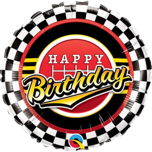 Happy Birthday Racing Chequered Balloon - 18inch Foil