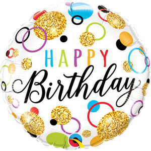 Happy Birthday Glitter Dots Balloon - 18inch Foil