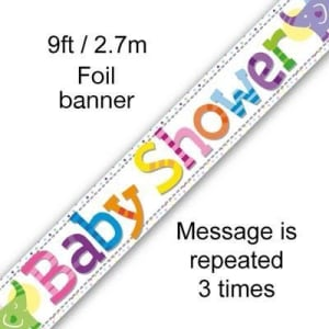Baby Shower 9ft/2.7m Holographic Banner