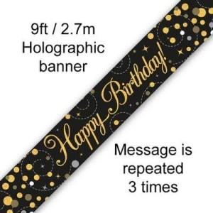 Sparkling Fizz Happy Birthday Black & Gold 9ft/2.7m Holographic Banner