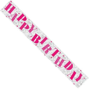 Pink Happy Birthday Female Banner