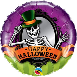 Skeleton Happy Halloween Balloon 18 Inch