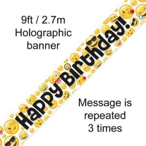 Emoji Birthday 9ft/2.7m Holographic Banner