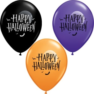 Halloween Bats And Moons 11inch Latex Balloons Pk25